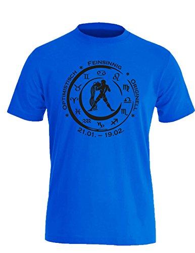 Sternzeichen Wassermann - Astrologie - Herren Rundhals T-Shirt Royal/Schwarz