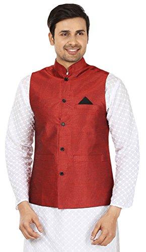 Herren Indische Traditionelle Nehru Jacke Silk Sleeve Weniger Weste (Rot, XXL) (Indische Herrenbekleidung)