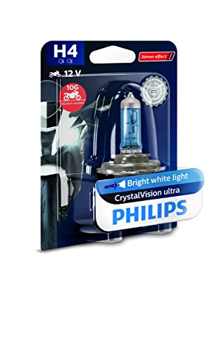 Philips 12342CVUBW Crystalvision Ultra Moto H4 Motorrad-Scheinwerferlampe, 1 Stück