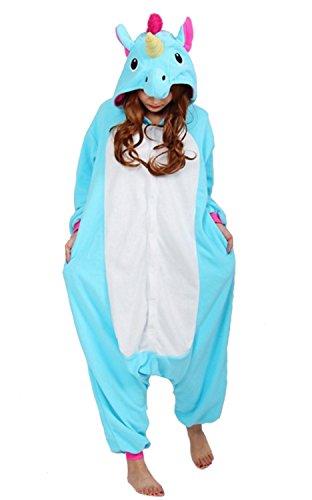 Hot unisex costume carnevale halloween pigiama animali kigurumi cosplay zoo onesies tuta-l/170-unicorno azzurro coda fucsia