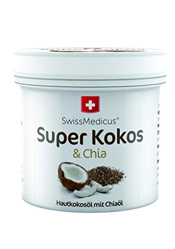 SwissMedicus Super Kokos & Chia - Kokosöl mit chia, Philippinisches befeuchtend iIntensive Pflege für Gesicht, Körper, Haare, Haut, Lippen, natürlicher Kokosnuss-Duft, 150 ml.