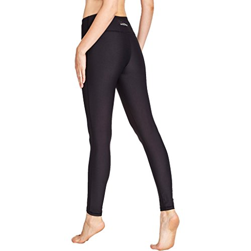 COOLOMG Damen Leggings Yoga Capris Lang Hosen Kompression Sport Trainingshose S M L XL Schwarz