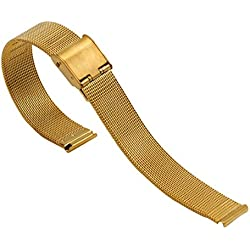 16 mm mesh or chainmail frais bracelets montre solide ss 304 inox bande montre d'affaires en boucle milanese en acier