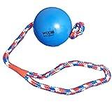 WEPO Hundespielzeug l Robuster Schleuderball l Wurfball aus Naturkautschuk (Naturgummi) mit Seil l Für große Hunde ideal l Starkes Material zum schleudern und zerren l Wurfgewicht 200 Gramm (Blau)