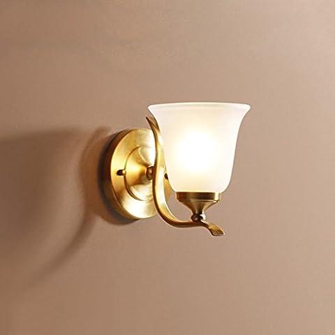 GJY Applique Murale Lampe Murale Cuivre Lampe Corps Verre Abat-Jour E27 Lumière Européenne Tête de Lit Lampe Lampe Murale Miroir Lampe Avant Chambre Étude Salon Mur Lampe Seule Tête Lampe Murale