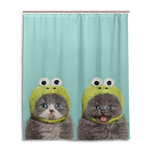 Mi Diario Adorable gatito gato menta verde cortina de ducha 60x 72inch,...