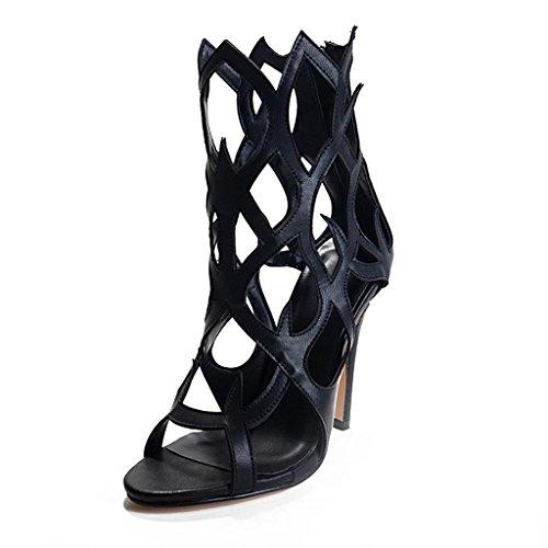 Onlymaker Damenschuhe High Heels Freie Toe Laser Cut Sandale mit Flammeform Schwarz