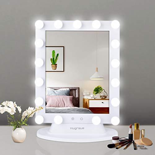 Viugreum Espejo de cortesía LED de Hollywood, Espejo de Maquillaje Iluminado con luz con atenuador con Control táctil Inteligente, Espejo de Aumento 10X Incluido