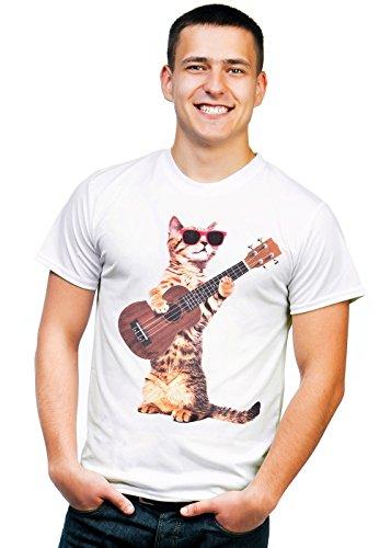 Retreez T-Shirt mit lustigen Katzen-Motiven, Ukulele, Bedruckt - Weiß - Groß -