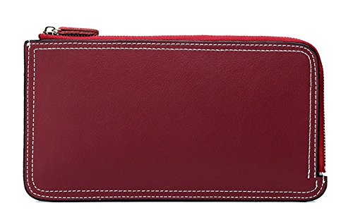Xinmaoyuan Portafogli donna portafoglio in pelle Ladies lunga sezione di colore puro borsa a mano,blu Rosso