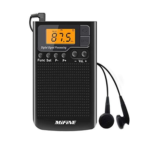 Digitales Pocket Radio Mifine Mini AM FM Radio Wiederaufladbare Multifunktionale Radio Clear Lautsprecher Musik Player Wecker und Timer mit Kopfhörer (Schwarz)