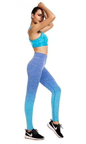 Damen Sport Leggings - Ideal für Yoga Fitness Sport Pilates Running - Perfekte Passform - Fitness Gym Wear Blau
