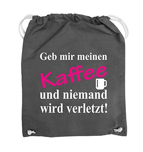 Comedy Bags - Geb mir meinen Kaffee und niemand wird verletzt! - Turnbeutel - 37x46cm - Farbe: Schwarz / Weiss-Neongrün Dunkelgrau / Weiss-Pink