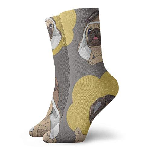 Sportliche Herrensocken Crew Socks Cartoon Pug Puppy Dog Vintage Womens Stocking Holiday Sock Clearance for Girls - Kleinkind-socken Asics