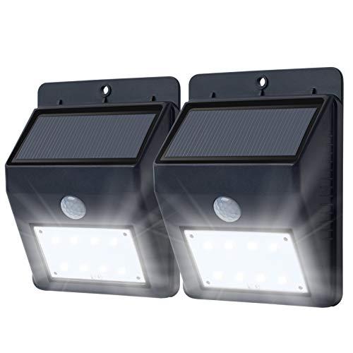 8 LED Solarbetrieben Sicherheitslicht (2er Set) - Solarlampen mit Eingebaut PIR Nacht und Bewegungs Sensor - Wasserfest Solar Licht - Solarleuchten für Außen, Garten, Schuppen, Garage, Hof, Einfahrt, Zaun, Terrasse, - Garage Licht Sensor
