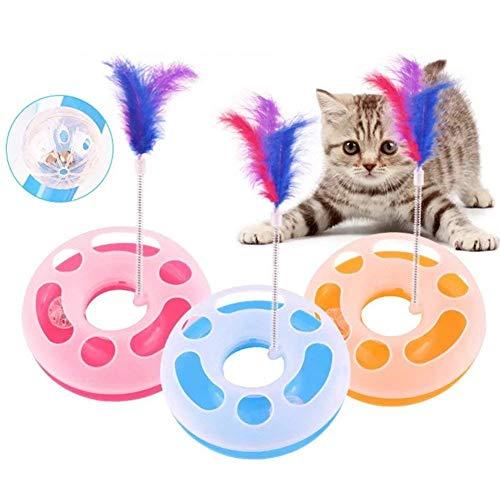 Hemore Interaktives Katzenspielzeug, einlagig, Spielzeug, Spielzeug, Katze, bewegliche Feder, Spielball mit Gl