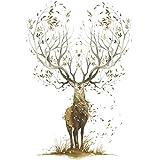 Wandaufkleber Kreative Schlafzimmer Tapete Poster Kunst Große Baum Elks Horn Gras Grafik Dekoration Aufkleber