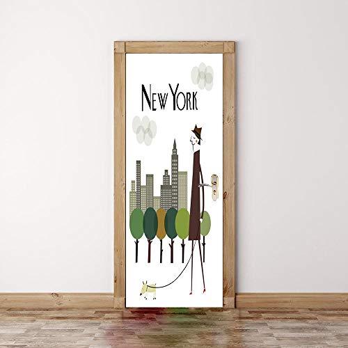 """CFLEGEND-Türaufkleber-3D-Selbstklebende-New Yorker Wetter Tür-Wandtattoo-Vinyltür-Tapete-Innentür-Abnehmbare-Innentür-Art-Home-Decoration-Kinderzimmer31\""""wx 79\""""h - 80 x 200cm"""