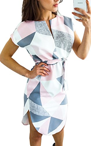ECOWISH Sommerkleider Damen Kurzarm V-Ausschnitt Strand Blumen Kleider Abendkleid Knielang Rosa XL (Länge Strand Kleid)