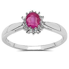 Idea Regalo - La Collezione anello di Rubino: 9ct Oro Bianco ovale Rubino piccolo & Diamante cluster, Anello di fidanzamento, mesura anello 11,5