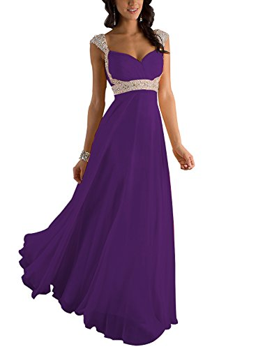 Erosebridal Formal Chiffon Lange Brautjungfernkleider Abendkleid DE 42 Lila