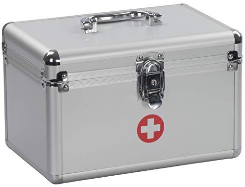 Medizinkoffer mit Deckel Griff Schloss und Einlegefach - Aluminium 25 x 17 x 16 cm - Tragbarer Verbandskasten Medikamente Aufbewahrung und Transport