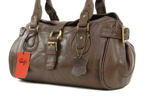 Handtasche Leder Othello von Gigi - Größe: B: 32,5 cm, H: 17 cm, T: 14 cm Dunkelbraun