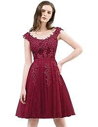 5be24093038a9 MisShow Abendkleider elegant für Hochzeit kurz Carmen-Ausschnitt A Linie  Brautjungfernkleider Kurz…