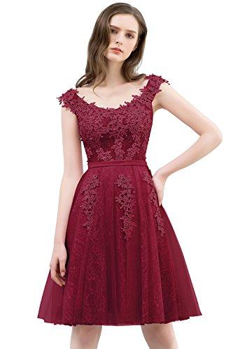 Damen Prinzessin A-Linie Tüll U-Ausschnitt Abschlusskleid Abiballkleid rückenfrei knielang Wein...