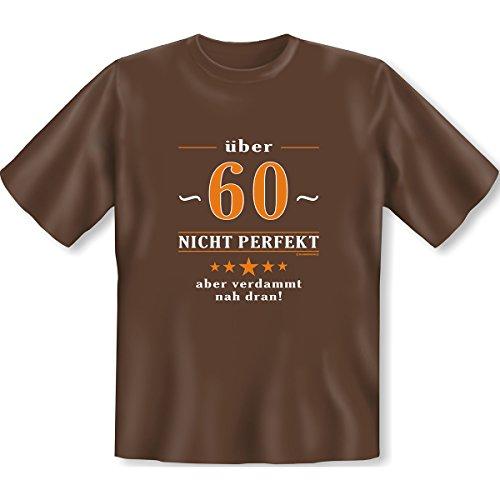 Geburtstags Set T-Shirt + Mini für die Flasche <->                 über 60 nicht perfekt                 <->                  ein kleines lustiges Geschenk Goodman Design®Braun Braun