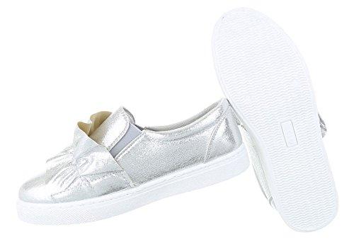 Damen Halbschuhe Schuhe Slipper Loafer Mokassins Flats Slip On Schwarz Gold Silber 36 37 38 39 40 41 Silber