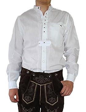MS-Trachten Trachtenhemd weiß bestickt Oktoberfest Hemd