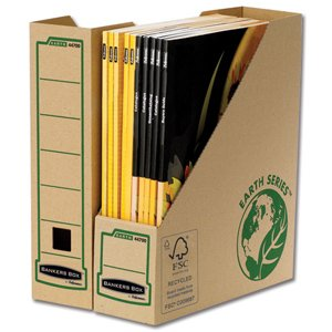 Bankers Box by Fellowes Earth Magazine File Recycled FSC Self Assembly A4 Plus Ref 4470001 [Pack