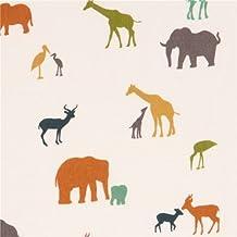 Tissu bio double gaze crème, éléphants, girafes, oiseaux multicolores par birch