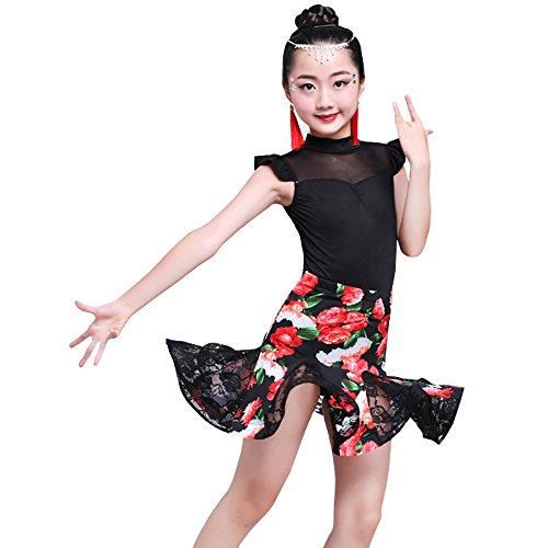 BOZEVON Kinder Mädchen Tanz Kleidung Ärmellose Oberteile + Blumen Rock Set Latein Tanzkleid Performances Wettbewerb Kostüm, Stil-3/130