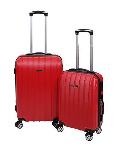 Betz 2 TLG. Reisekoffer Set Hartschalen Koffer Handgepäck Teleskop Trolley Boardcase mit TSA Schloss und Leichtlaufrollen Farbe Rot