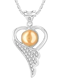 VK Jewels Pearl Studded Rhodium Plated Alloy CZ American Diamond Pendant With Chain For Women [VKP2734R]