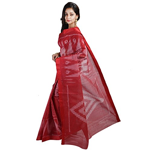 CRAFTS AND LOOMS Geometric Print Dhaniakhali,Tant,Tangail Handloom Pure Cotton Saree (Red)