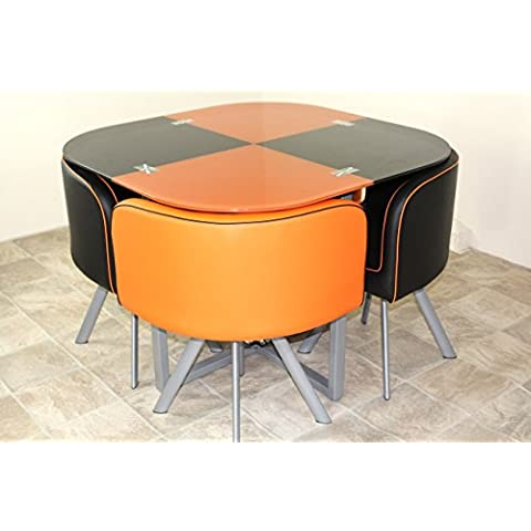 Space Saver Glass Table & 4 Chairs