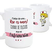 Tazas de desayuno original para regalar a trabajadores profesionales - Regalo para enfermeras - Cuidar de uno eso es amor, cuidar de muchos eso es enfermería- Cerámica 350 ml