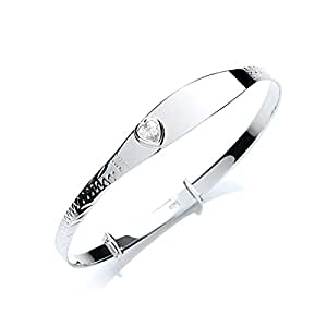 MiChic Children's Silver White Heart Cubic Zirconia Identity Expanding Bangle