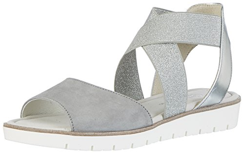 Gabor Shoes Damen Fashion Offene Sandalen mit Keilabsatz, Grau (Grau/Silber 19), 42.5 EU