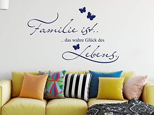 GRAZDesign Familie Wandtattoo Sprüche - Familie ist das wahre Glück - Flur Diele Wohnzimmer Sticker Aufkleber Wandaufkleber Wandsticker / 92x57cm / 040 violett