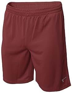TREN Herren COOL Polyester Mesh Performance Short Sporthose mit Seitentaschen Maroon 610 - XXL