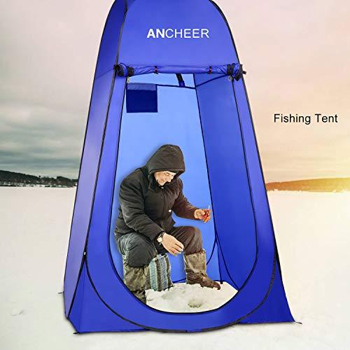 ANCHEER Ultraleichtes Segeltuch Umkleidezelt Pop up Zelt tragbares Duschzelt Outdoor WC Zelt Toilettenzelt für Camping (Blau) - 2