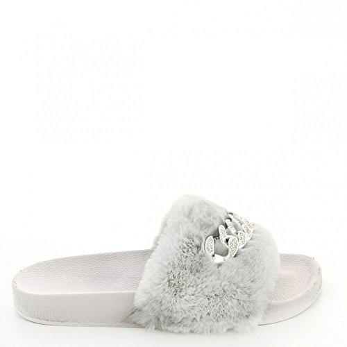 Ideal Shoes - Claquettes avec fourrure synthétique et chaîne Talia Gris