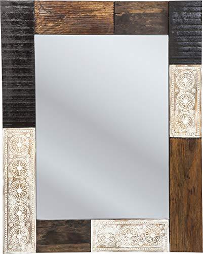 Spiegel Finca, kleiner moderner Wandspiegel, schmal, braun-weiß (H/B/T) 100x80x2,5cm