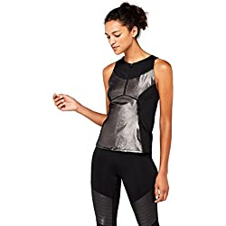 AURIQUE High Camiseta Deportiva Metalizada Mujer, Negro (Black Foil), 42 (Talla del fabricante: L)