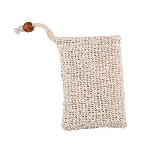 Ogquaton Handgemachte Seifenbeutel schäumende natürliche Sisal Seifenbeutel Seifen-Saver-Beutel-Halter für das Waschen der Hände -