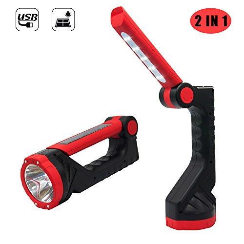 LED Taschenlampe Flashlight, 2 in 1 LED Handlampe mit USB und Solar Wiederaufladbare, 3 Licht Modi Hoch / Niedrig / Tischlampe für Campen, Wandern, Reparatur, Heimgebrauch und Lesen